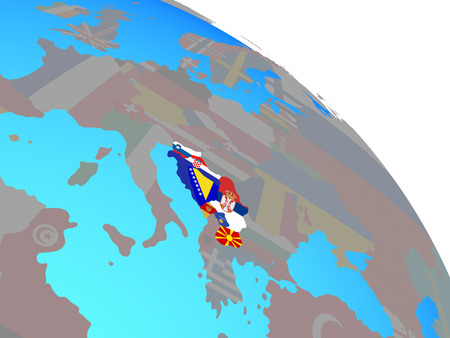Former Yugoslavia with national flags on simple blue political globe. 3D illustration.