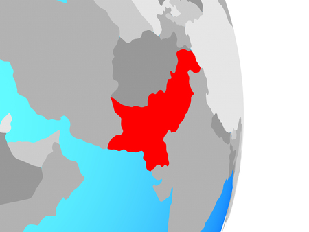 Pakistan on simple political globe. 3D illustration.