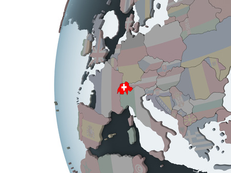 Switzerland on political globe with embedded flag. 3D illustration. Banque d'images - 109748235