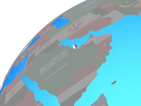 Qatar with embedded national flag on globe. 3D illustration.