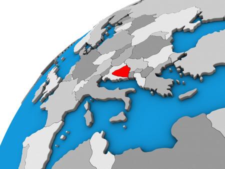 Bosnia and Herzegovina on 3D globe. 3D illustration.