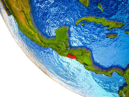 El Salvador on model of Earth with country borders and blue oceans with waves. 3D illustration. Banco de Imagens