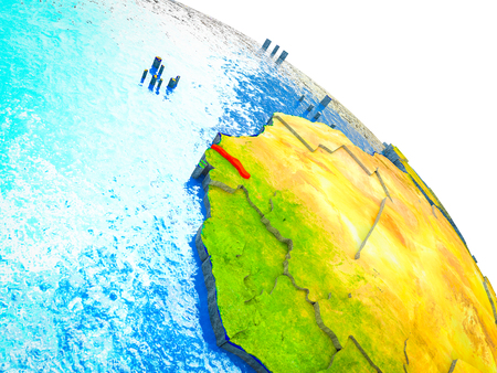 Gambia Highlighted on 3D Earth model with water and visible country borders. 3D illustration. Stock Photo