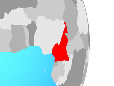 Cameroon on simple political globe. 3D illustration.