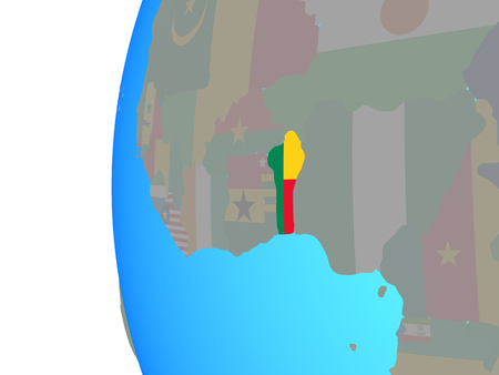 Benin with embedded national flag on blue political globe. 3D illustration.