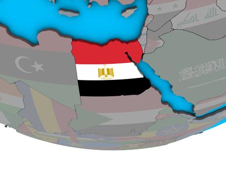 Egypt with embedded national flag on simple political 3D globe. 3D illustration.