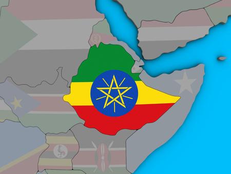 Ethiopia with embedded national flag on blue political 3D globe. 3D illustration.