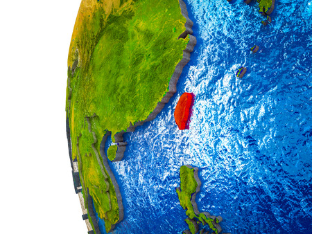 Taiwan highlighted on 3D Earth with visible countries and watery oceans. 3D illustration. Stok Fotoğraf