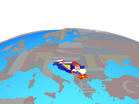 Former Yugoslavia with national flags on political globe. 3D illustration.