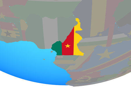 Cameroon with national flag on simple political globe. 3D illustration.