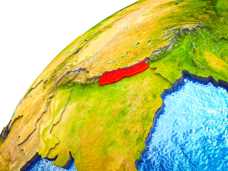 Nepal on 3D Earth model with visible country borders. 3D illustration.