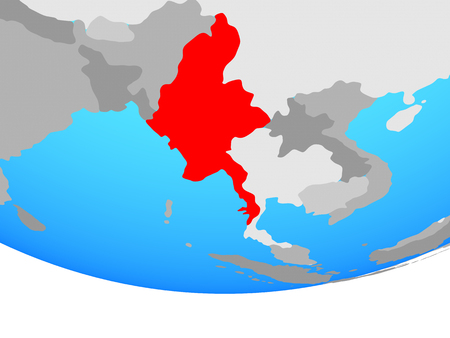 Myanmar on simple political globe. 3D illustration.