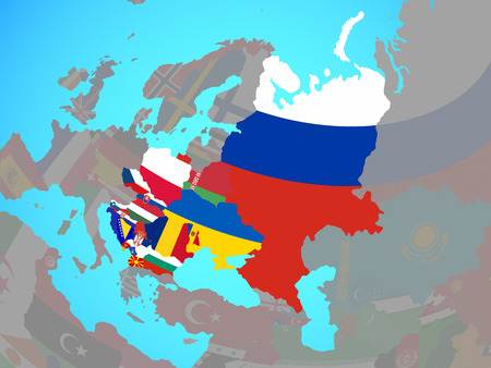 Eastern Europe with national flags on blue political globe. 3D illustration. Reklamní fotografie