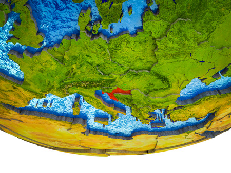 Croatia on 3D Earth with divided countries and watery oceans. 3D illustration.