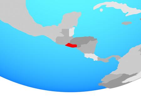 El Salvador on simple political globe. 3D illustration.