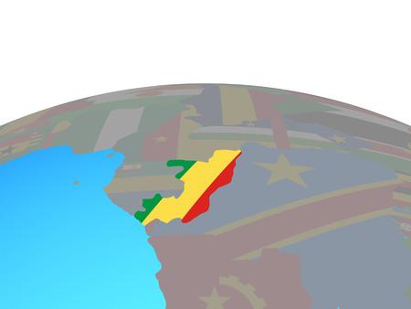 Congo with national flag on political globe. 3D illustration. Standard-Bild - 110015844