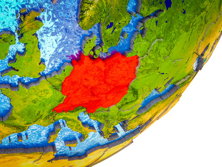 Central Europe on 3D model of Earth with water and divided countries. 3D illustration.