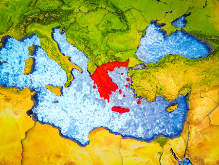 Greece on model of 3D Earth with blue oceans and divided countries. 3D illustration.