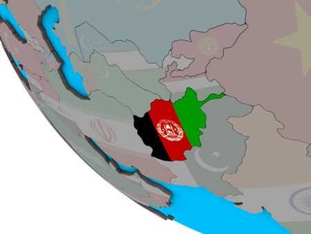 Afghanistan with embedded national flag on simple 3D globe. 3D illustration. Stock Photo