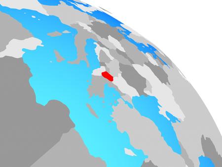 Macedonia on simple blue political globe. 3D illustration. Stockfoto