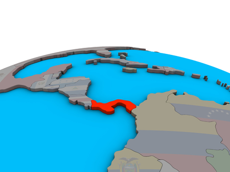 Panama with embedded national flag on political 3D globe. 3D illustration.