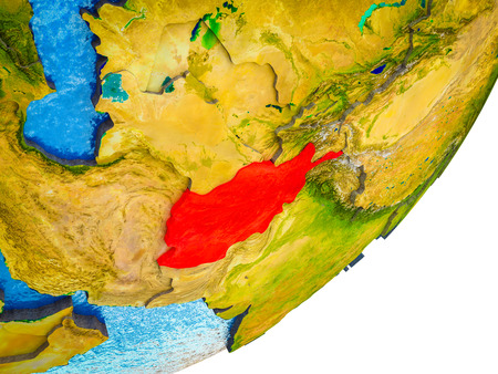 Afghanistan on 3D model of Earth with water and divided countries. 3D illustration.