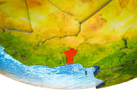 Benin on 3D Earth with divided countries and watery oceans. 3D illustration.
