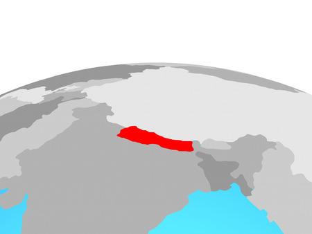 Nepal on political globe. 3D illustration. Фото со стока