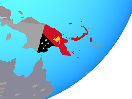 Papua New Guinea with embedded national flag on blue political globe. 3D illustration. Stock Illustration - 109833704