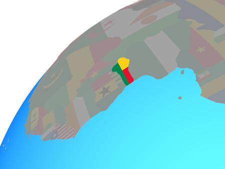 Benin with embedded national flag on globe. 3D illustration.