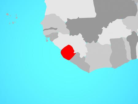 Sierra Leone on blue political globe. 3D illustration.