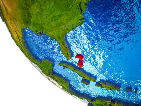 Bahamas on model of Earth with country borders and blue oceans with waves. 3D illustration. Stock Photo