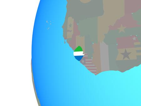 Sierra Leone with embedded national flag on blue political globe. 3D illustration.