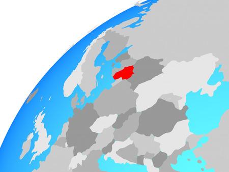 Lithuania on globe. 3D illustration.