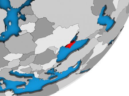 Crimea on blue political 3D globe. 3D illustration.