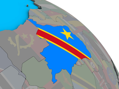Dem Rep of Congo with embedded national flag on simple blue political 3D globe. 3D illustration.