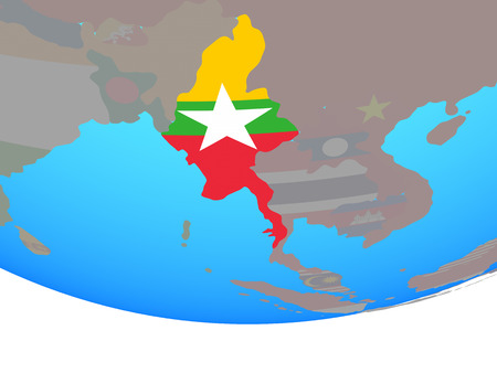 Myanmar with national flag on simple political globe. 3D illustration. Stock Photo
