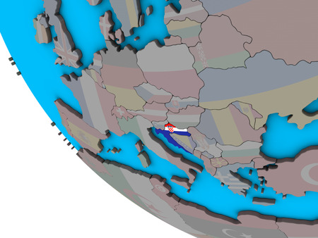 Croatia with embedded national flag on simple 3D globe. 3D illustration.