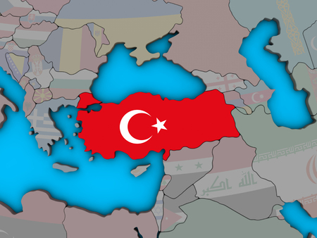 Turkey with embedded national flag on blue political 3D globe. 3D illustration.