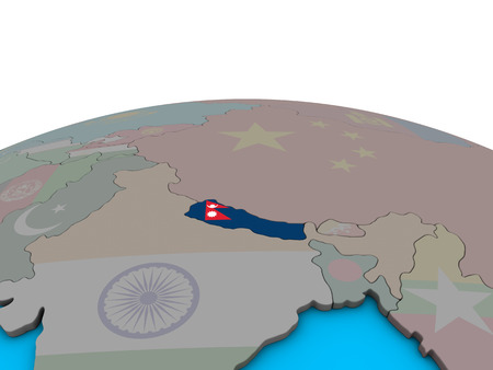 Nepal with embedded national flag on political 3D globe. 3D illustration.