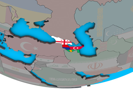 Caucasus region with embedded national flags on simple political 3D globe. 3D illustration.