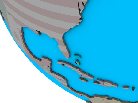 Bahamas with embedded national flag on simple 3D globe. 3D illustration.