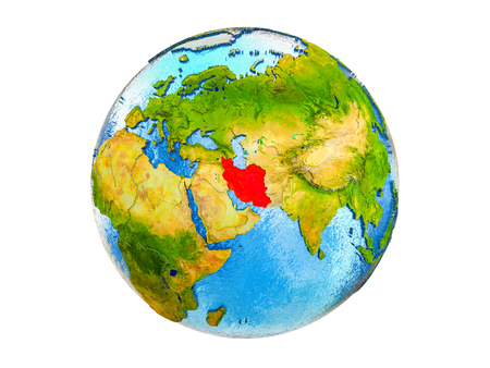 Iran on 3D model of Earth with country borders and water in oceans. 3D illustration isolated on white background. 版權商用圖片