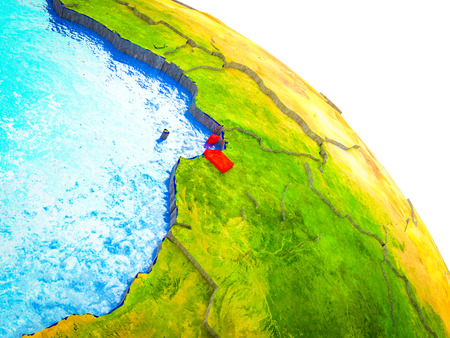 Equatorial Guinea Highlighted on 3D Earth model with water and visible country borders. 3D illustration. 版權商用圖片