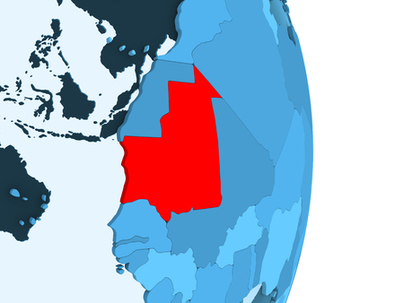 Mauritania in red on simple blue political globe with visible country borders and transparent oceans. 3D illustration.