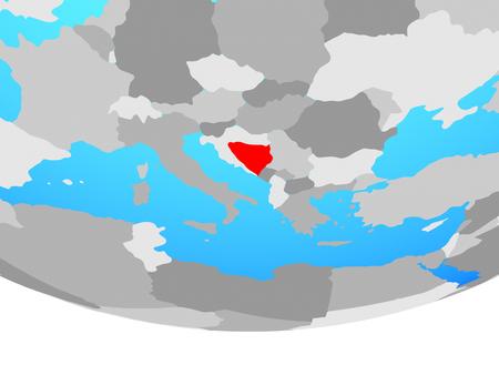 Bosnia and Herzegovina on simple political globe. 3D illustration.