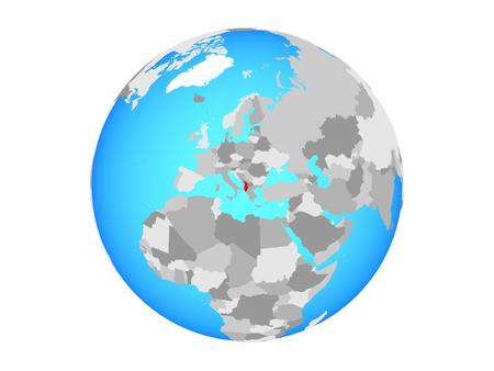 Albania on blue political globe. 3D illustration isolated on white background.