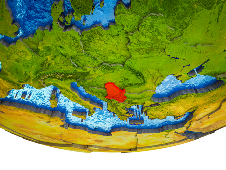 Serbia on 3D Earth with divided countries and watery oceans. 3D illustration. Imagens