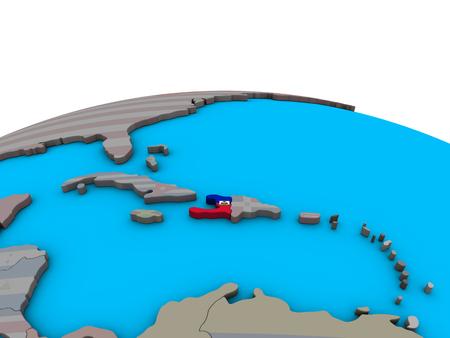 Haiti with embedded national flag on political 3D globe. 3D illustration. Stock Photo