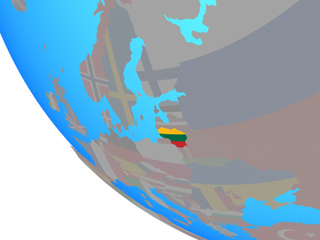 Lithuania with national flag on simple globe. 3D illustration.